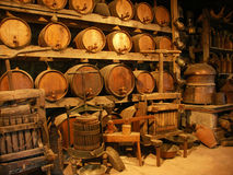 Cellar in monastery. Of Meteora, Greece contains hundreds years old devices, tools, barrels, etc Royalty Free Stock Photos