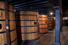 Cellar with oak barrels. Of madeira wine Royalty Free Stock Images