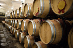 Cellar oak barrels. Oak barrels multiplication put the wine in the wine cellar Stock Images