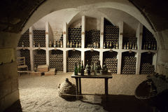The cellar to the storage of wine in the castle Valencay. Stock Photography