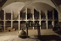 The cellar to the storage of wine in the castle Valencay Royalty Free Stock Photography