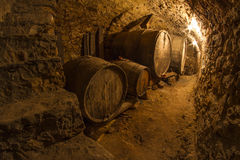 Cellar. Traditional cellar in small winery from Catalonia Stock Photo