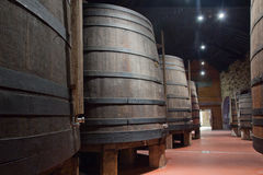 Cellar with wine barrels Stock Photography