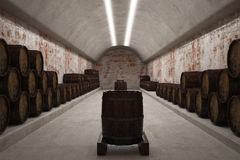 Cellar with wine barrels. 3d illustration. Royalty Free Stock Photo