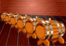 Cellar with wine barrels Royalty Free Stock Photography