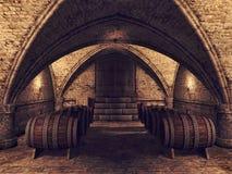 Cellar with wine barrels Stock Photos