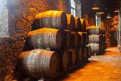 Cellar with wine barrels Stock Photo