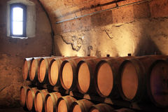 Cellar with wine flanks Stock Photos