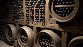 Cellar for wine storage. Old wine.  stock video