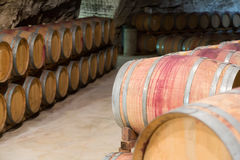 Cellar with  wooden barrels Stock Image