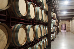 Cellar with  wooden barrels Stock Photography