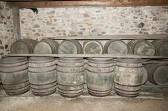 Cellar Wooden Barrels Stock Photo