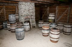 Cellar Wooden Barrels Royalty Free Stock Image