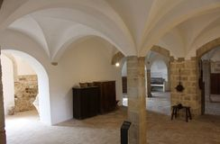 The cellars of the Pedralbes monastery in Barcelona. stock photos