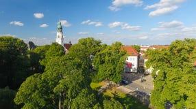 Celle,德国 城市和公园鸟瞰图  免版税图库摄影