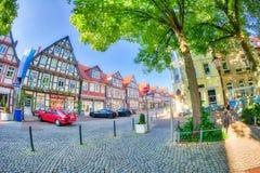 CELLE,德国- 2016年7月18日:游人在Brandplatz Celle在 库存照片