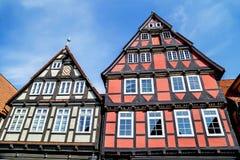 Celle, Alemanha - 1º de maio de 2017: Fachada da construção no Celle Cidade velha em Baixa Saxónia, Alemanha Fotos de Stock