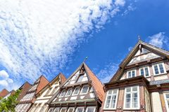 Celle, Germany. Colourful buildings in city center on a sunny da Stock Images