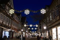 Celle, Germany, Europe, December 4, 2018: Christmas lights in the historic city of. Christmas Lights in the romantic, historic city of Celle, Germany, Europe stock image