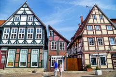 Celle, Germany - May 1, 2017: People in love couple walking on the street. Stock Photos