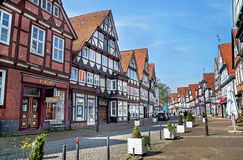 Celle, Germany - May 1, 2017: Street with facade of the building in the Celle. Old town in Lower Saxony, Germany. Royalty Free Stock Photos