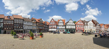 Celle, Germany. May 24, 2015: A street with historical half-timbered houses in the old city of . In the background you can see a number of tourists visiting Stock Photo