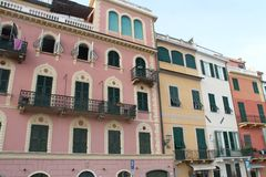 Celle Ligure - Houses on the seafront Royalty Free Stock Images