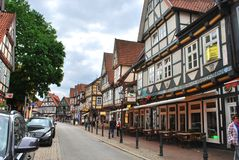 The view of the historical center of Celle stock images
