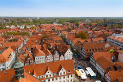Celle rooftops. Photograph of the rooftops of Celle taken from the top of the city church (Stadtkirche Royalty Free Stock Images