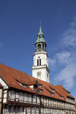 Celle, St. Marys church and half-timbered houses Stock Photos