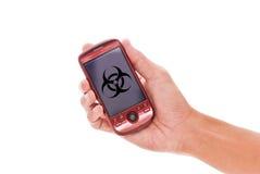 cellen hazards telefonen arkivfoto