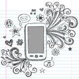 cellen klottrar den sketchy vektorn för pdatelefonen royaltyfri illustrationer