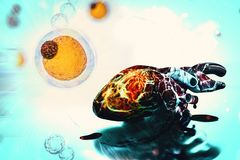 Celler för cancer för mänsklig hjärta för hjärtaforskningbegrepp vård- royaltyfri illustrationer