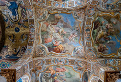 Celling of the famous church of Santa Maria dell`Ammiraglio in Palermo. PALERMO, ITALY - SEPTEMBER 7, 2015: Celling of the famous church of Santa Maria dell` Royalty Free Stock Images