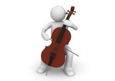 Cellist. 3d characters isolated on white background series Royalty Free Stock Photo