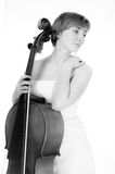 Cellist with cello Royalty Free Stock Image