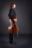 Cellist and cello Royalty Free Stock Photos
