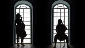 Cellist die een muzikale samenstelling in de avond spelen tegen het venster Silhouet stock videobeelden