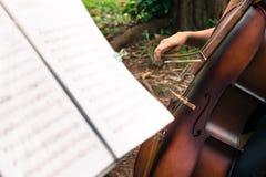 Cellist het presteren royalty-vrije stock afbeelding