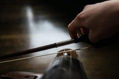 Cellist met een boog stock afbeelding