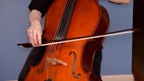 Cellist playing cello. With bow. Baroque bow stock image