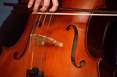 Cellist playing cello. With bow. Baroque bow royalty free stock images