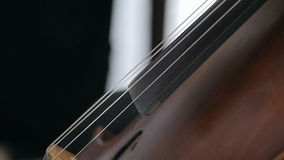 Cellist playing classical music on cello stock footage