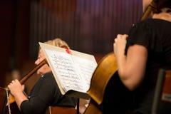 Cellist som spelar i orkester Arkivfoton
