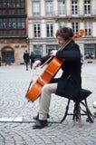 Cellist in the street. STRASBOURG - France - 12 February 2016 - cellist in the street stock images
