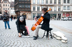 Cellist in the street Stock Image