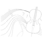 Cello. A  cello in outline Stock Images