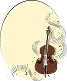 Cello background. A , oval-shaped backgound featuring swirling music and a cello stock illustration