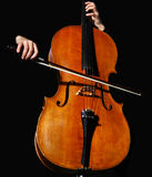 Cello on black royalty free stock image