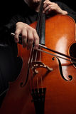 Cello and bow in action Royalty Free Stock Images